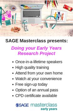 Whether you have an early years research project coming up or you're simply interested in the idea of it here is a great place to start.  In this SAGE Early Years Masterclass Kathy Brodie is in conversation with a range of experts in early years research readily asking the questions any first-timer will have on their mind. Invaluable CPD you can attend from the comfort of your home at your convenience. Don't miss this rare opportunity to learn from the masters of early years research. Research Methods, Research Projects, Early Years Teacher, Method Homes, Free Sign, Eyfs, Child Development, Master Class, Early Childhood