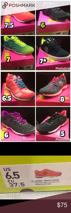 Zumba Sneakers (Shoes) New in box, Zumba® Shoes  Good dancing shoes. Original, never used. Smoke and pet free business.  Priced per pair, $75 each... ⬇️ on 〽️.  😉  Bundle and save!  Sizes as listed, please note 7* runs small.  Ships within 2 days! :) Zumba Shoes Athletic Shoes