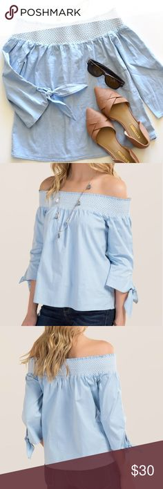 Francesca's Poplin Smocked Off The Shoulder Top Beautiful Francesca's Poplin Smocked Off The Shoulder Top! Perfect for the spring and summer! Brand New With Tags! • Size XS • Size chart available at the end photo of this listing • Soft blue color • 97% cotton 3% spandex • Brand new with tags Francesca's Collections Tops Blouses