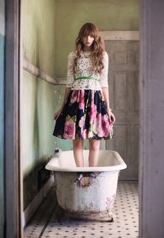 I really love the contrast of new life in worn environments. The hole in the bathtub makes this artwork that much better.     (I wish Pinterest had the option (read: fields) to attribute the photographer, model, location, etc.)