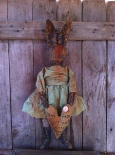 Primitive Black Folk Art Easter Bunny Rabbit Doll with Embroidered Heart Pillow | eBay