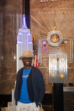 October 5, 2015: On behalf of @stompoutbullyng, actor Taye Diggs flips the switch on the Empire State Building's tower lights in honor of #BlueShirtDay2015 World Day of Bullying Prevention!