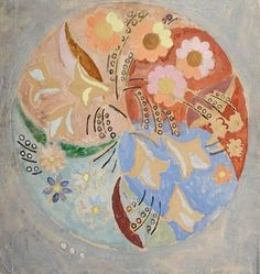 """I enjoy the spring more than the autumn now. One does, I think, as one gets older."" - Virginia Woolf, Jacob's Room. Art: Duncan Grant, Circular composition with flowers"