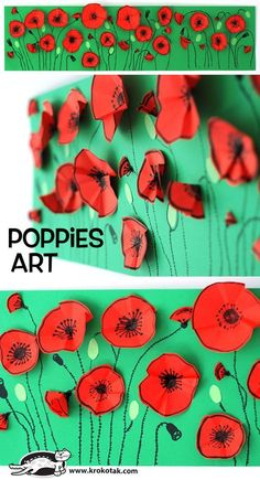 Poppies art for Anzac Day or Remembrance Day. Lovely craft activity for children. Remembrance Day Activities, Remembrance Day Poppy, Poppy Craft For Kids, Art For Kids, Kindergarten Art, Preschool Art, Spring Art, Spring Crafts, Flower Crafts