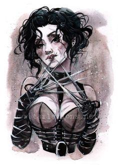 Pin Up Halloween Lady Scissorhands Tim Burton inspired watercolor Giclee Art print Carla Wyzgala carlations