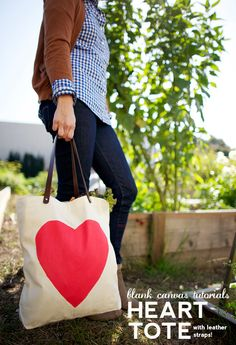 DIY Heart Tote with Leather Straps Tutorial (no sewing!)