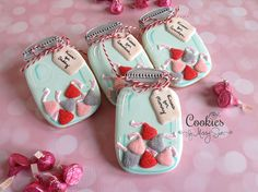 Candy jar cookies - Cookies by Missy Sue Mother's Day Cookies, Summer Cookies, Valentines Day Cookies, Fancy Cookies, Iced Cookies, Cute Cookies, Royal Icing Cookies, Holiday Cookies, Cupcake Cookies