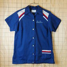 【ビンテージ】古着USA(アメリカ)製ヒルトンボーリングシャツ半袖ネイビー(紺)MELL-TRONIC【Hilton】