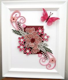 Ayani art: Quilling in pink and white