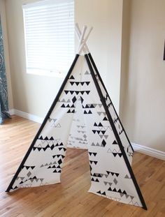 Black, White, Gray, Grey, Triangle, Geometric, Play Teepee, Tee Pee, Tent (poles included) Ready to Ship
