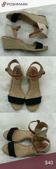"""Lucky Brand Wedge Sandals Excellent condition. Size 7 wedge sandals. Open toe and 2"""" wedge heel. Adjustable ankle strap. Lucky Brand Shoes Wedges"""