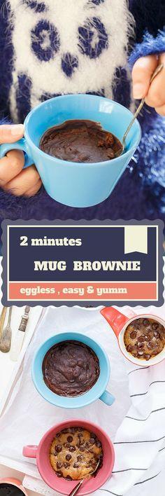 2 Minutes Eggless Chocolate Mug Brownie // yum // chocolate // treat // dessert // small Chocolate Mug Brownies, Chocolate Mug Cakes, Chocolate Lovers, Mug Recipes, Sweet Recipes, Cooking Recipes, Eggless Recipes, Eggless Baking, Cake Recipes