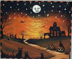 OOAK vintage-style original folk art painting on wooden stool/bench ~ Halloween scene with black cats & flying witch, hand-painted by M. Halloween Scene, Halloween Painting, Halloween Prints, Halloween Pictures, Holidays Halloween, Spooky Halloween, Vintage Halloween, Happy Halloween, Halloween Decorations