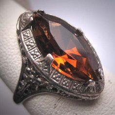 Antique Golden Topaz Ring Wedding Vintage Art by AawsombleiJewelry