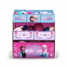 Keep the kingdom clean with this Frozen Multi-Bin Toy Organizer from Delta Children. With six uniquely sized fabric bins and a sturdy wood frame, this toy organizer is decorated with colorful graphics of Frozen's leading ladies, Anna and Elsa. Disney Frozen Bedroom, Disney Frozen Toys, Frozen Room, Frozen Girls Bedroom, Frozen Kids, Frozen Theme Room, Frozen 6, Frozen Free, Frozen Princess