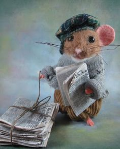 Needle Felted Art by Robin Joy Andreae: Frankie, the Newspaper Boy