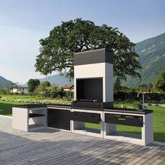 Outdoor Barbeque, Bbq, Design Barbecue, Built In Braai, Outdoor Kitchen Design, Outdoor Cooking, Swimming Pools, Pergola, Backyard