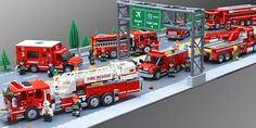 My Lego fire department Task Force It includes (left to right) Truck Medic Engine Squad Battalion Chief Heavy Rescue, and Urban Search & Rescue Lego City Fire Truck, Lego Truck, Lego City Police, Fire Trucks, Police Truck, Ambulance Lego, Legos, Lego Hospital, Lego Fire