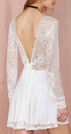 Lace V Back Dress