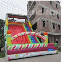 colourful inflatable high slide, XS190 size 12x7x11m