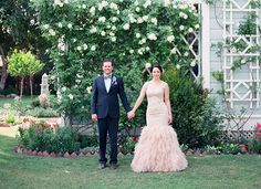 Feathered mermaid style wedding gown