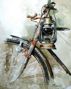 Art by Manzoor Hussain Mangi . Watercolor Illustration, Watercolor Art, Cycle Painting, Indian Art Paintings, Watercolor Landscape Paintings, India Art, Bicycle Art, Pencil Art Drawings, Art Plastique