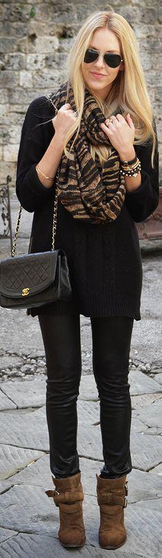 sunnies / cheetah print scarf / black sweater / black jeggings / brown booties / black bag by geraldine Passion For Fashion, Love Fashion, Womens Fashion, Casual Outfits, Cute Outfits, Fashion Outfits, Fashion Trends, Fall Winter Outfits, Autumn Winter Fashion
