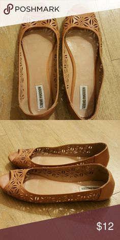 Steve Madden cutout flats Open toed flats by Steve Madden. Worn, but in excellent condition! Steve Madden Shoes Flats & Loafers