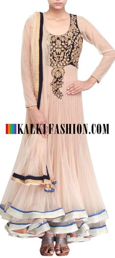 Get this beautiful golden outfit here: http://www.kalkifashion.com/anarkali-suit-featuring-in-beige-embellisehd-in-zari-only-on-kalki.html Free shipping worldwide. #50ShadesofGold