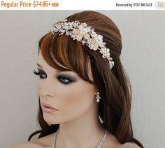 SALE  Gold Bridal Headband  Swarovski Crystal by EleganceByKate