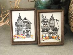 cute embroidered houses
