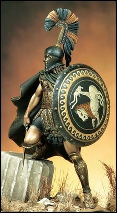 Greek Mercenary, Box Art for Pegaso Models Greek Warrior, Fantasy Warrior, Greek History, Ancient History, Ancient Rome, Ancient Greece, Spartan Warrior, Modelos 3d, Greek Art