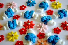 Edible Smurfs with Flowers Cake Cupcake Decorations/Toppers