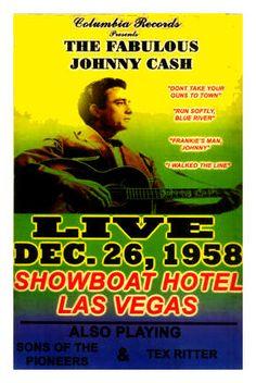 Johnny Cash Las Vegas Concert Poster 1965  • 100% Mint unused condition • Well…