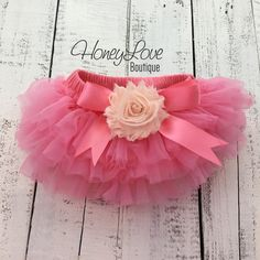 Coral Pink tutu skirt bloomers diaper cover, embellished Peach shabby flower, ruffles all around, newborn infant toddler little baby girl birthday photo shoot by HoneyLove Boutique