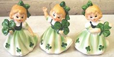 Lefton St. Patrick's Day Clover Trio of Girl Figurines | Antique glass