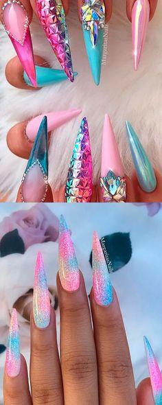 Unicorn Nails Designs, Unicorn Nail Art, Stiletto Nail Art, Acrylic Nails, Summer Stiletto Nails, Metallic Nails, Nail Nail, Summer Nails, How To Do Ombre