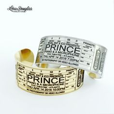Prince at Fox Theatre Atlanta Concert Ticket Bracelet. A wearable tribute from Prince's last show. Personalized to match your ticket. Silver or Gold Engraved cuff bracelet. Prince Concert, Plastic Gift Bags, Concert Crowd, Concert Looks, Roger Nelson, Prince Rogers Nelson, Concert Tickets, Leather Tassel, Cuff Bracelets