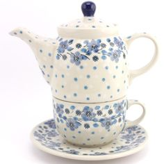 $48.49 Teapot and Cup with Saucer Night Dream Polish pottery from slavicapottery.com