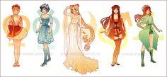 Sailor Moon: Art Nouveau Costume Designs by Hannah-Alexander.deviantart.com on @DeviantArt