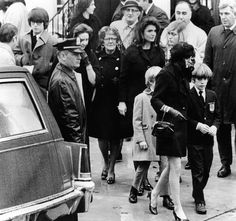 Kennedy family at the funeral of Joseph P. Kennedy. In the center is Jacqueline Kennedy Onassis and son, John, Jr., who is with Ann Gargan. At far left is Robert Kennedy Jr., son of the late senator. Others are unidentified. Nov. 18. 1969.