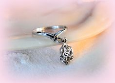 New to MyVtgJewelryShop on Etsy: Rose Charm Ring Teen Gift Pinky Midi Sterling Band Size 3 1/2 Teenager Gift Idea Affordable Vintage Jewelry (14.82 USD)