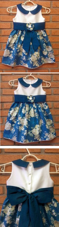 Molde Gratuito no Facebook: Dona Fada-Grupo de Moldes Gratuitos Free Patterns in Facebook: Lady Fairy-Free Pattern Group (RLevyFile-Vestido Foral Beje e Azul 18m -Blue and Beige Floral Dress 18m.pdf)