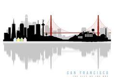 SAN FRANCISCO art San Francisco skyline Minimalist by Redpostbox