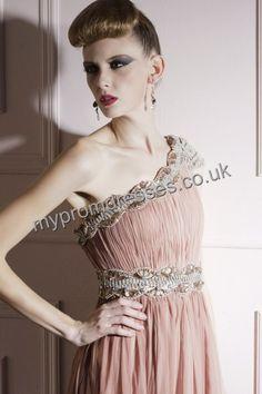 Floor Length One-shoulder Pink Tulle A-line Evening Dress  http://www.mypromdresses.co.uk