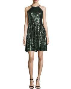 Halter-Neck+Embellished+Cocktail+Dress,+Emerald+by+Badgley+Mischka+at+Neiman+Marcus.