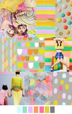 S/S 2017 pattern & colors trends: Goody goody gumdrop Color Patterns, Print Patterns, Color Schemes, Fashion Design Inspiration, Color Inspiration, Palettes Color, Future Trends, Fashion Forecasting, Color Stories