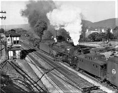 June 1949 Local helper PRR locomotives push a westbound train past Slope Tower. Railroad Companies, Pennsylvania Railroad, Steam Engine, Steam Locomotive, Model Trains, Roads, Past, Shots, June