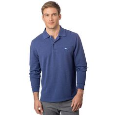 Long Sleeve Heathered Skipjack Polo in Twilight Blue by Southern Tide