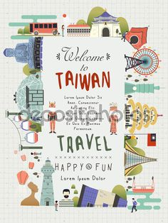 Lovely Taiwan Travel Poster Design With Famous Attractions Stock Vector Illustration 344259671 : Shu Map Design, Travel Design, Book Design, Graphic Design, Travel Journal Pages, Taiwan Travel, Plakat Design, Travel Illustration, Travel Maps